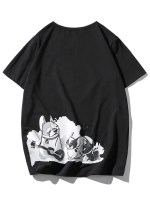 Cartoon Dogs Print Applique T-shirt