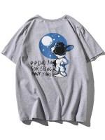 Cartoon Dog Letter Print Funny T-shirt
