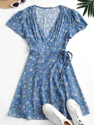 zaful Flutter Sleeve Ditsy Floral Wrap Dress