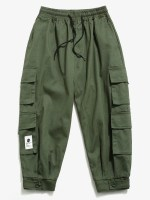 Solid Color Multi-pocket Decorated Cargo Pants