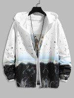 Mountain Landscape Paint Dots Print Sunproof Hooded Jacket