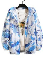 Paint Pattern Mesh Sunproof Hooded Jacket
