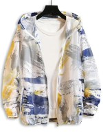 Paint Printed Sunproof Mesh Hooded Jacket