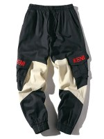 Colorblock Embroidery Letter Cargo Jogger Pants