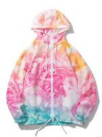Marble Print Lightweight Sunproof Hooded Jacket