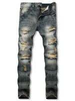 Distressed Ripped Long Denim Pants