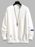 Letter Text Drop Shoulder Crew Neck Sweatshirt