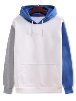 Color Blocking Panel Flocking Kangaroo Pocket Hoodie