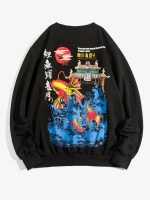 ZAFUL Carp Leaping Over Dragon Gate Chinoiserie Sweatshirt
