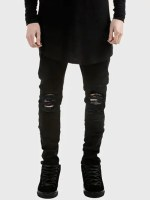 Dark Wash Tapered Ripped Jeans