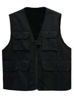 Solid Multi Flap Pockets Cargo Vest