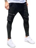 Plain Zip Pockets Casual Pencil Sweatpants