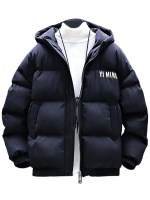 Zip Up Letter Graphic Pockets Padded Coat
