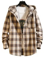 Plaid Pattern Pocket Patch Hooded Shirt Jacket