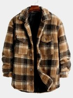 Plaid Pattern Pocket Button Up Teddy Jacket
