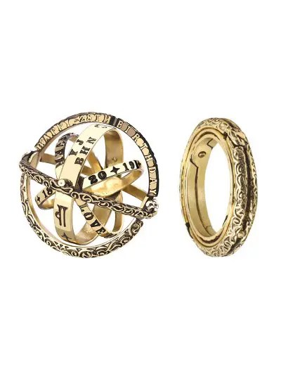 Personality Astronomical Sphere Style Jewelry Flip Deformation Retro Lettering Ring
