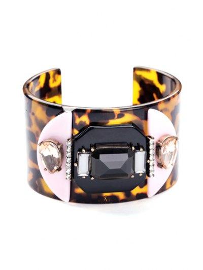 Faux Gem Leopard Print Bracelet