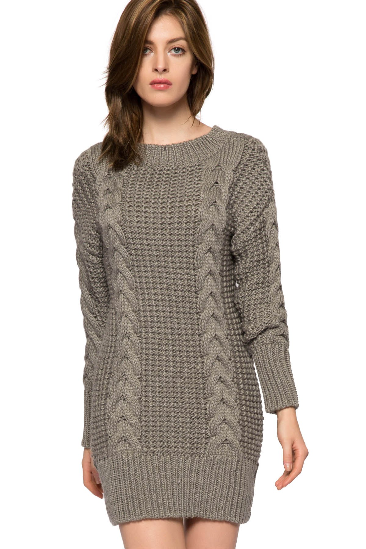 Solid Color Cable-knit Sweater Dress Gray Dresses