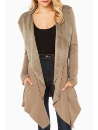 Shawl Collar Fleece Lining Irregular Coat KHAKI: Jackets ...
