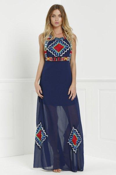Jewel Neck Floral Print Color Block Sleeveless Maxi Dress