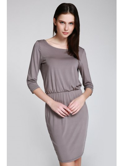 Scoop Neck 3 4 Sleeve Open Back Bodycon Dress