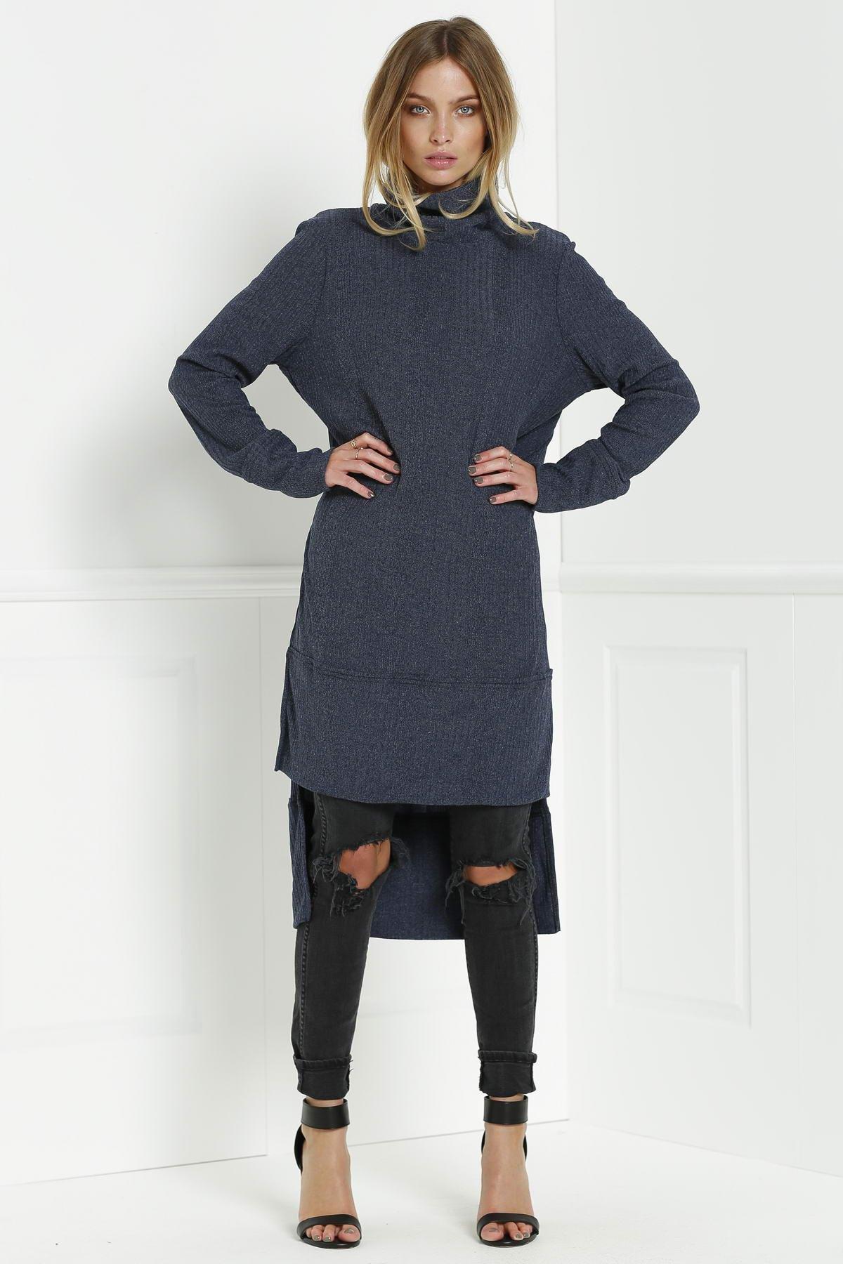 Solid Color Turtle Collar Sweater Dress Deep Blue