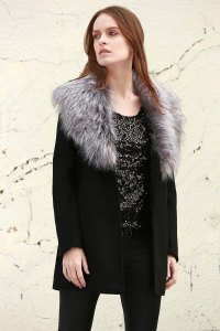 Boohoo Shawl Faux Fur Collar Coat BLACK: Jackets & Coats ...