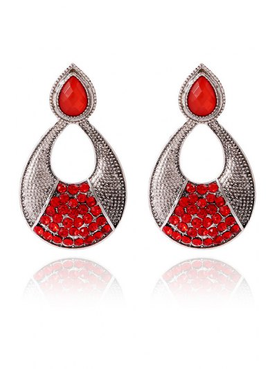 Pair of Gothic Rhinestone Hollow Out Water Drop Earrings For Women