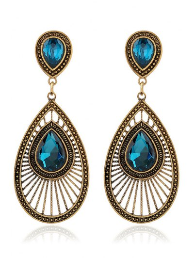 Pair of Ethnic Faux Crystal Water Drop Earrings For Women