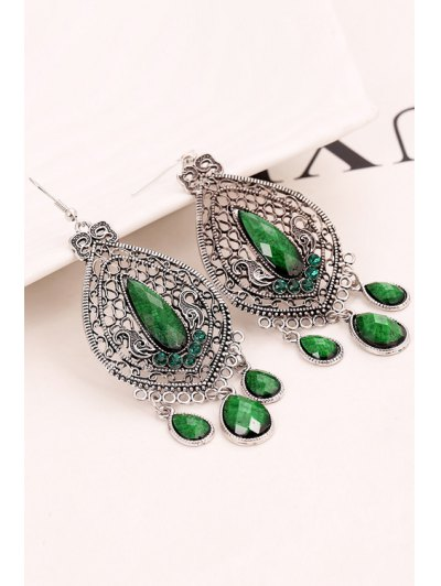 Pair of Vintage Bohemia Faux Crystal Water Drop Earrings For Women