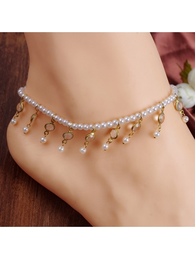 Chic Faux Pearl Tassel Elastic Anklet For Women