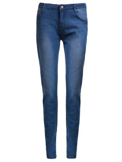 High Waisted Zipper Embellished Stylish Slimming Pencil Jeans For Women