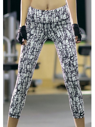 High Waisted Printed Slimming Gym Cropped Pants