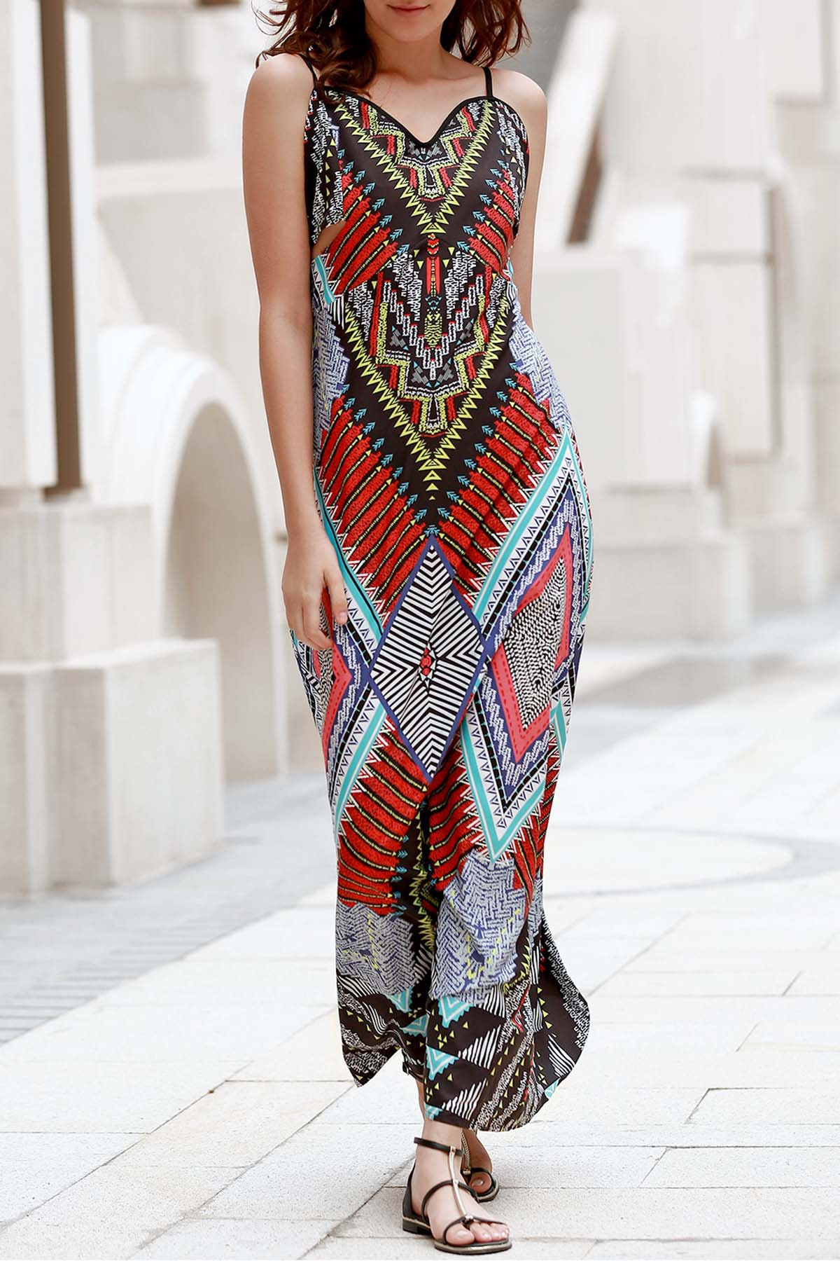 Low-Back Maxi Dress Printed