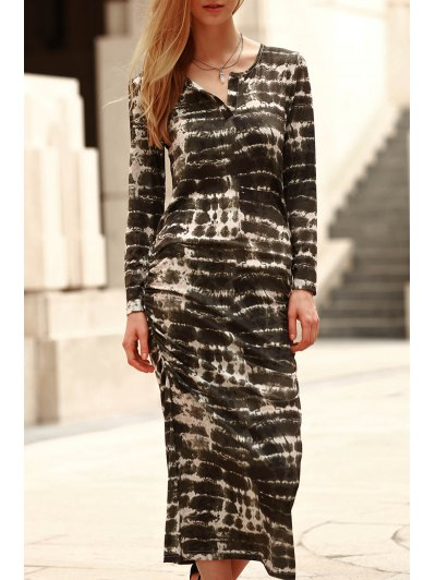Scoop Neck Long Sleeve Abstract Print Bodycon Dress