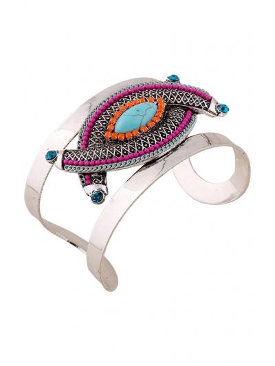Stone Decorated Oval Cuff Bracelet