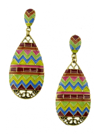 Pair of Stylish Glaze Wave Water Drop Earrings For Women