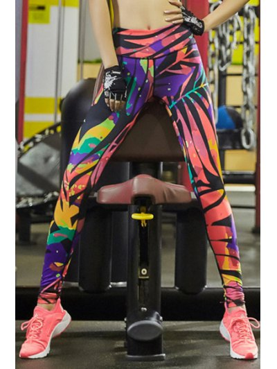 Elastic Waist Colorful Printed Stretch Sport Pants