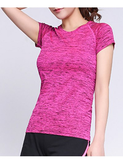Round Neck Short Sleeves Space Dye T Shirt For Women