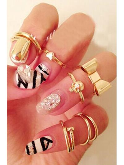 Bow Skull Embellished Golden Rings For Women