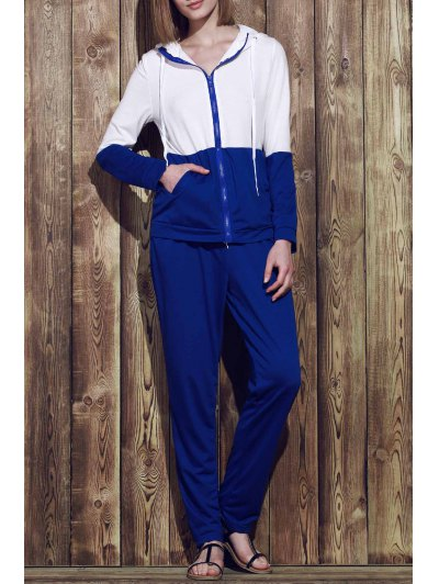 Hooded Zippered Color Block Jacket and Solid Color Pants Twinset
