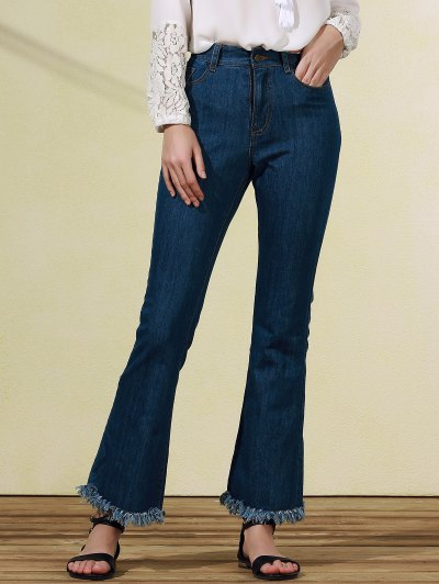 Frayed Blue Boot Cut Jeans