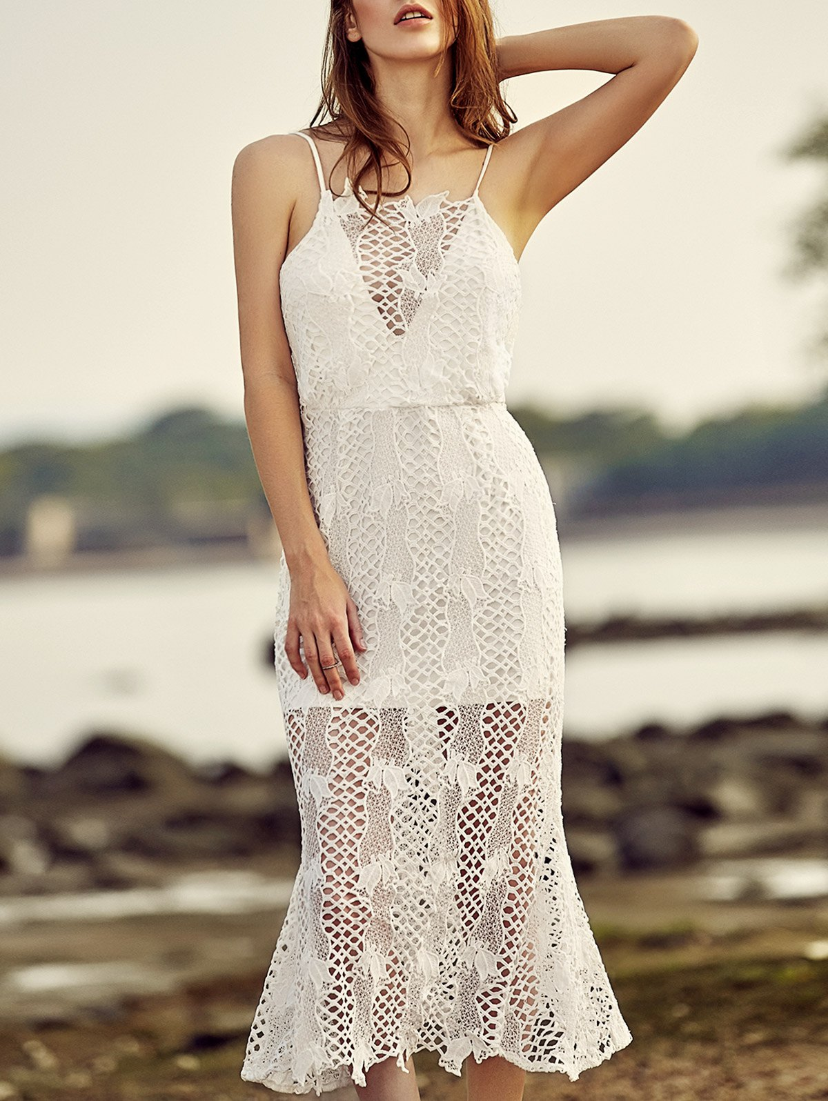Spaghetti Straps Backless Openwork Lace Dress