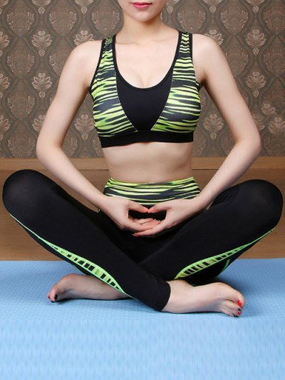 Printed Sports Bra and Skinny Ninth Pants Yoga Suit