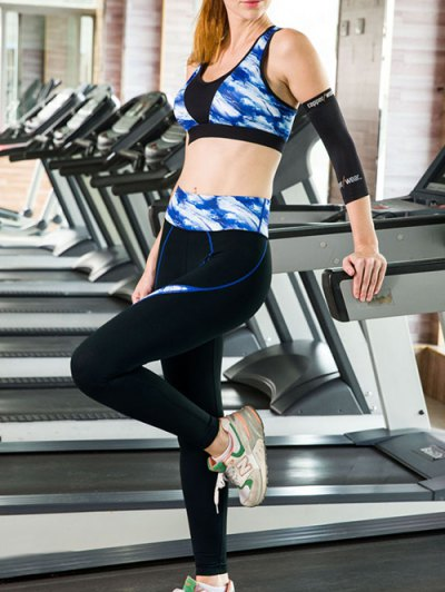 Printed Sports Bra and Skinny Ninth Pants Yoga Suit