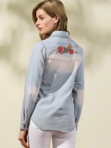 Embroidered Denim Overshirt
