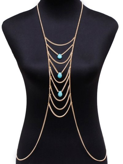 Graceful Faux Turquoise Water Drop Body Chain