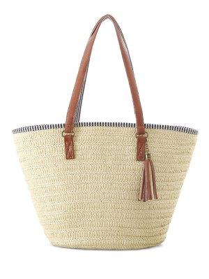 Tassels Weaving Striped Shoulder Bag - Off-white