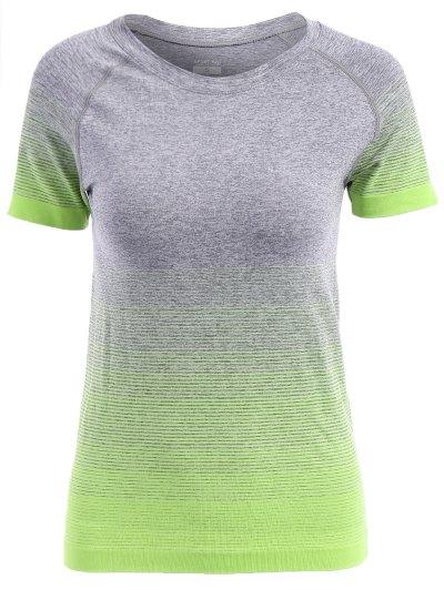Jewel Neck Gradient Color Short Sleeve Sport T Shirt