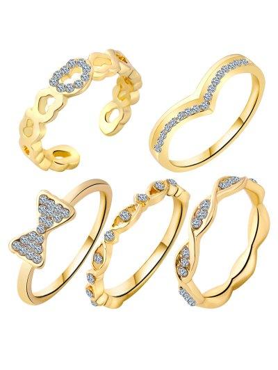 Charming Rhinestone Bowknot Rings